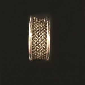 AUTH! Tiffany & Co sterling silver mesh ring band